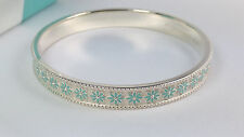 NEW Tiffany & Co. Blue Enamel Daisy Flower Bangle Small Silver Bracelet 925