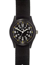 MWC Matt Black 1960/70s Vietnam Pattern Military Watch with Black Webbing Strap