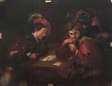 Card Players 18th Century Dutch Flemish Old Master Oil Painting- For Restoration