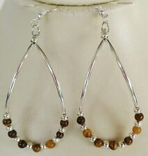 Native American Earring Set Tiger's Eye Stones Silver Beads Regalia Cherokee