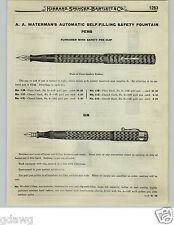 1919 PAPER AD AA Waterman's Automatic Filling Safety Fountain Pen Modern Rubber