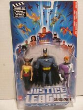 DC Justice League Unlimited BATMAN, HAWKGIRL,ELONGATED MAN  3 figure set MIP