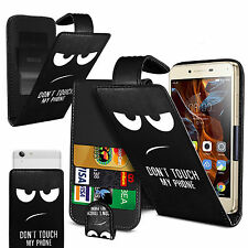 For ZTE Blade Vec 4G -  (Eyes) Clip On PU Leather Flip Case Cover