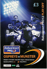 Ospreys v Munster Pro12 League Play-Off 11 May 2012 Liberty RUGBY PROGRAMME