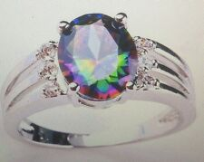 MYSTIC RAINBOW TOPAZ RING WITH WHITE TOPAZ ACCENTS SIZE 6/9/10