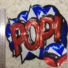 Embroidered iron on patches sequins POP sequins clothing DIY Motif Applique tbus