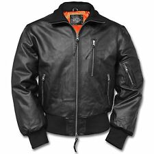 BW Fliegerjacke Pilotenjacke Retro Lederjacke Real Leather Jacket Gr. 56 schwarz