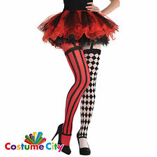 Womens Ladies Freak Show Circus Harlequin Tights Halloween Fancy Dress Accessory