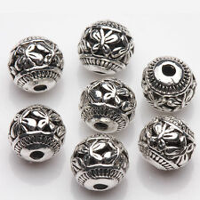 10Pcs 8mm Tibetan Silver Hollow Out Butterfly Round Spacer Beads Jewelry Making