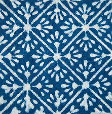 Natural Indigo Dye. 2½ Yards. Hand Block Printed Cotton. Dabu, Mud Resist Fabric