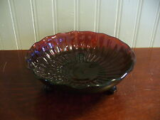 Vintage Footed Embossed Star Motif Ruby Red Glass Fluted Accent Dish