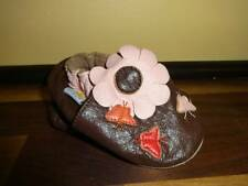 Infant Mini Star Leather Bootie Shoes Girl Brown Pink SZ 0-6 Months