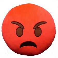 """USA SELLER Emoji Pillow 12"""" Inch 30cm Rage Red Angre+a Emoticon Angry Fire Smile"""