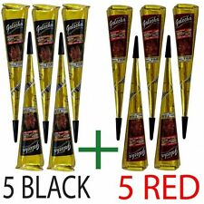 5 BLACK+5 RED Quick Dry Instant Golecha Dark Henna Mehandi cone Body Art