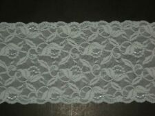 "Embroidered stretch lace trimming fabric scalloped 6""wide light blue by the yard"