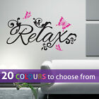 RELAX and BUTTERFLIES wall sticker art decal living room lounge bedroom bathroom