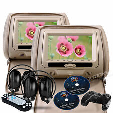 "Cream Beige Tan 2X 7"" HD Car Video Pillow Headrest Monitor DVD Player Headphones"