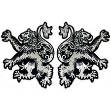 2 TWO LION RAMPANT SCOTTISH HERITAGE CELTIC BIKER JACKET VEST SILVER PATCH SET