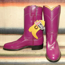 Womens Justin L3079 Roper Purple Leather Cowboy Boots 6 C NEW In Box
