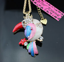 A115 Betsey Johnson Crystal Enamel Color Parrot Pendant Sweater chain Necklace