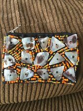 BEAUTIFUL HANDMADE COIN PURSE WALLET UNIQUE MADE W/ SHELLS BEADS