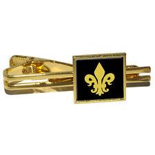 Fleur de Lis - Gold on Black Square Tie Bar Clip Clasp Tack
