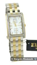 mens Elgin 2 tone business success watch calendar 24 hour bracelet box