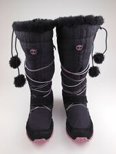 TIMBERLAND Black Lace Up Pom Pom Winter Boots Junior Girls Sz 6