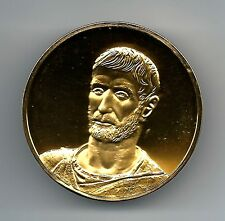 "HEAD of A BEARDED MAN (2), c. 200 B.C. Rome. Some dirt in the back. Medal 2"" M12"