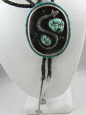 VINTAGE STERLING SILVER TURQUOISE BOLO TIE 66.8 X 55 MM 61.7 GRAMS