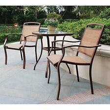 3 Piece Bistro Set Outdoor Patio Furniture Garden Deck Porch Table Sling Chairs