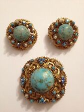 Vintage Florenza Faux Turquoise Blue Rhinestone Faux Pearl Pin Earring (G200)