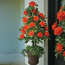 Outdoor Lighted Pre Lit Rose Topiary Urn Filler Porch Greenery Faux Tree