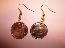 WREN FARTHING COIN DROP EAR RINGS - 1940 - 76th BIRTHDAY