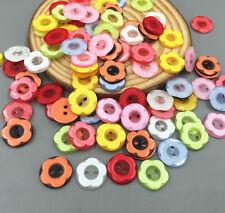 100 Stück Blumen Harz Nähen Knopf/Knöpfe Runde Scrapbooking Craft 12mm