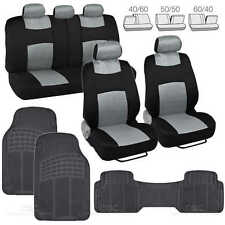 9 Pc Sporty Mesh Cloth Gray / Black Seat Cover and 3 Pc Solid Black Rubber Mats
