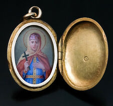 Antique Saint Olga Icon Pendant Locket