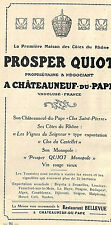 CHATEAUNEUF-DU-PAPE MAISON PROSPER QUIOT PUBLICITE ADVERTISING 1920 ?