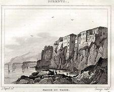 SORRENTO. Golfo di Napoli. Regno delle Due Sicilie. ACCIAIO. Stampa Antica. 1838