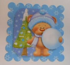 PACK 2 SNOWBALL TEDDY BEAR EMBELLISHMENT TOPPERS FOR CARDS AND CRAFTS