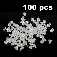 100PCS Silicone Earring Back Plugs Soft Stoppers Ear Post Nuts Jewelry Findings