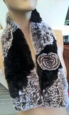 mix colour genuine real rabbit fur knitted scarf neck warmer collar shawl stole