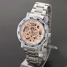 Hollow Pattern Skeleton Stainless Steel Watch (rose white)