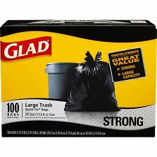 Glad 30-Gallon Strong Quick-Tie Large Plastic Trash Bags, 100 ct. - Black