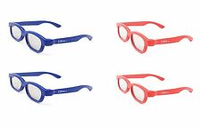 4 Pairs of Children's Passive 3D Glasses 2 Red 2 Blue LG Toshiba Cinemas LG