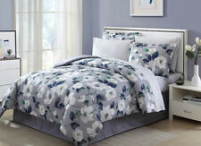 Grey Blue White Floral 6 Piece Comforter Bedding Set Twin Size