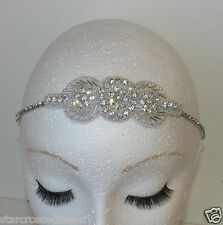 Silver Diamante Rhinestone Vintage Headpiece 1920s Headband Flapper Bridal L78