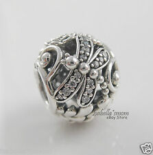 DRAGONFLY MEADOW Authentic PANDORA Sterling Silver/Clear CZ Charm/Bead NEW