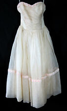 Prom Formal Bridesmaid Dress Vintage 1950's Strapless Pink Organza Size Small