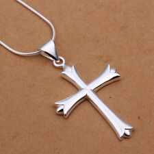 Women Stylish 925 Sterling Silver Plated Cross Pendant Necklace Chain Jewelry